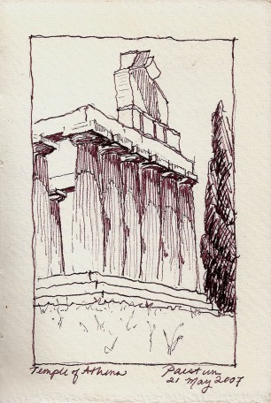 Study of temple at Paestum