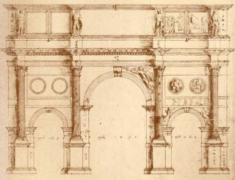Drawing of the Arch of Constantine by Palladio