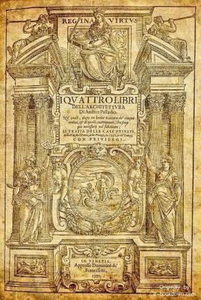 """""""Regina Virtus,"""" frontispiece for I Quattro Libri (1570, A. Palladio)"""
