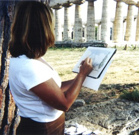 Artist Kinga Crary paints at Paestum on the ICAA's Naples Drawing Tour
