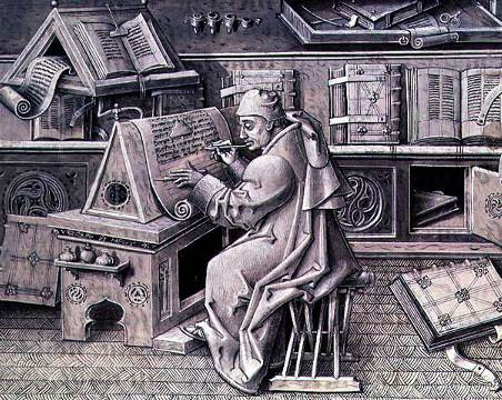 The copyist Jean Mielot working in his scriptorium by Jean Le Tavernier, 15th C.