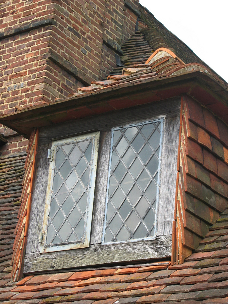 Diamond-shaped window panes at Great Dixter