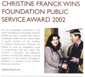 """Christine Franck wins Foundation public service award 2002,"" Prince's Foundation Newsletter"