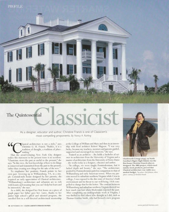 """The Quintessential Classicist,"" Clem Labine's Period Homes Magazine, September 2011"