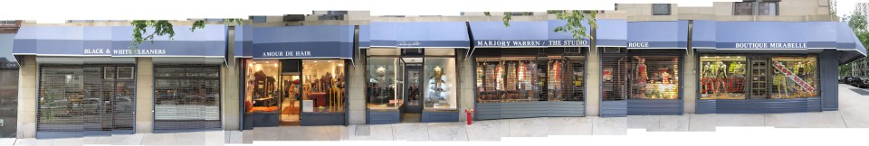 Montage of the shops along Madison Avenue BEFORE renovation.