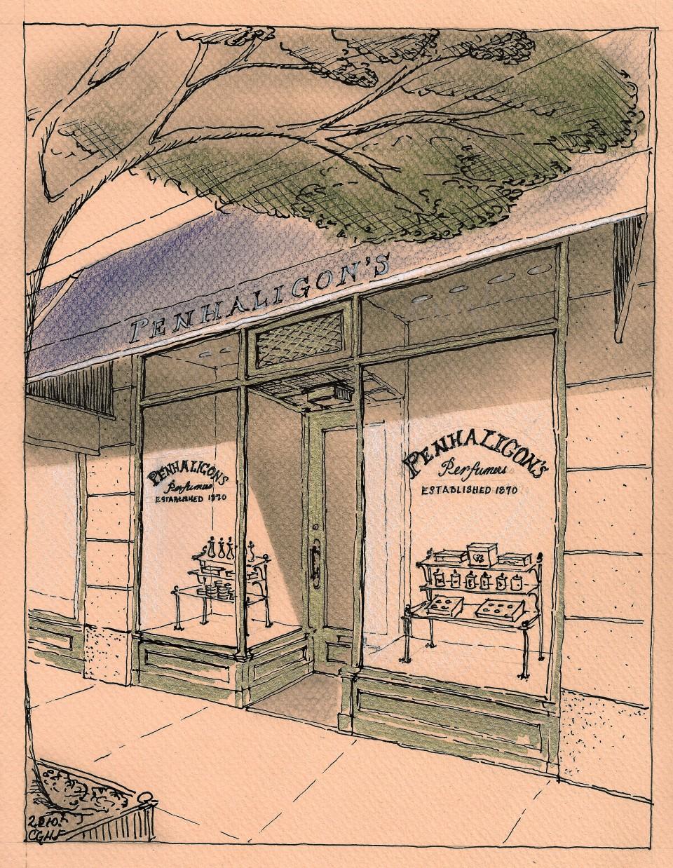 Sketch by Christine G. H. Franck showing preliminary concept for  shop renovation.