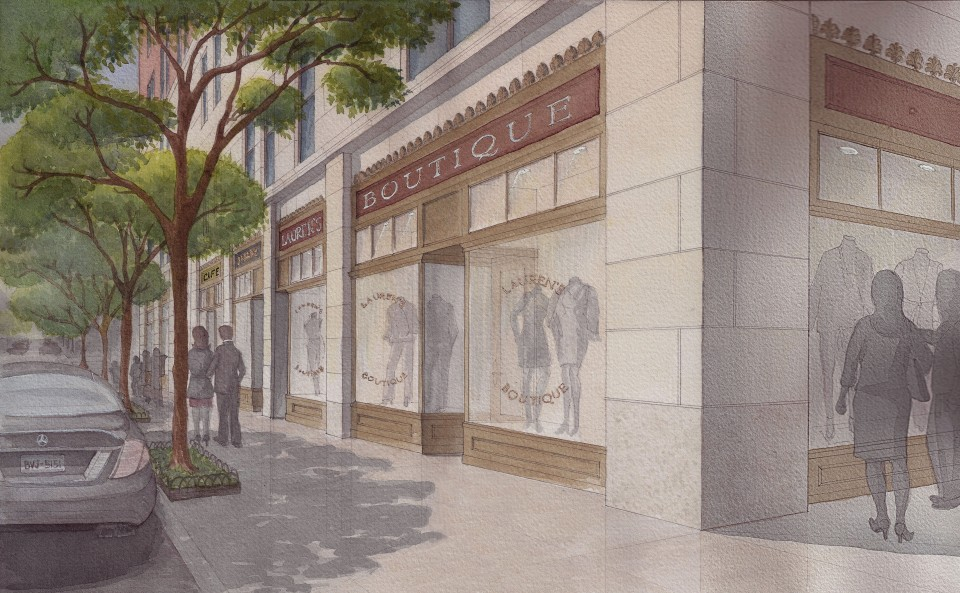 Presentation watercolor by Christine G. H. Franck showing design for  shop renovation.