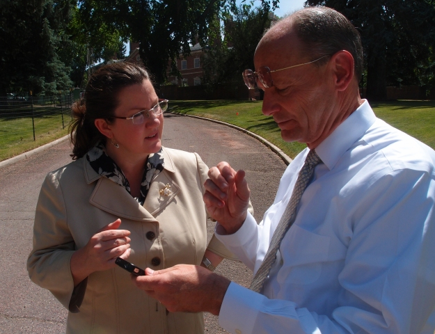 Figure 4 – Don Ruggles and I in front of the Phipps House in the historic Belcaro neighborhood discussing the work of Charles Platt. (Photography by Tom Matthews).