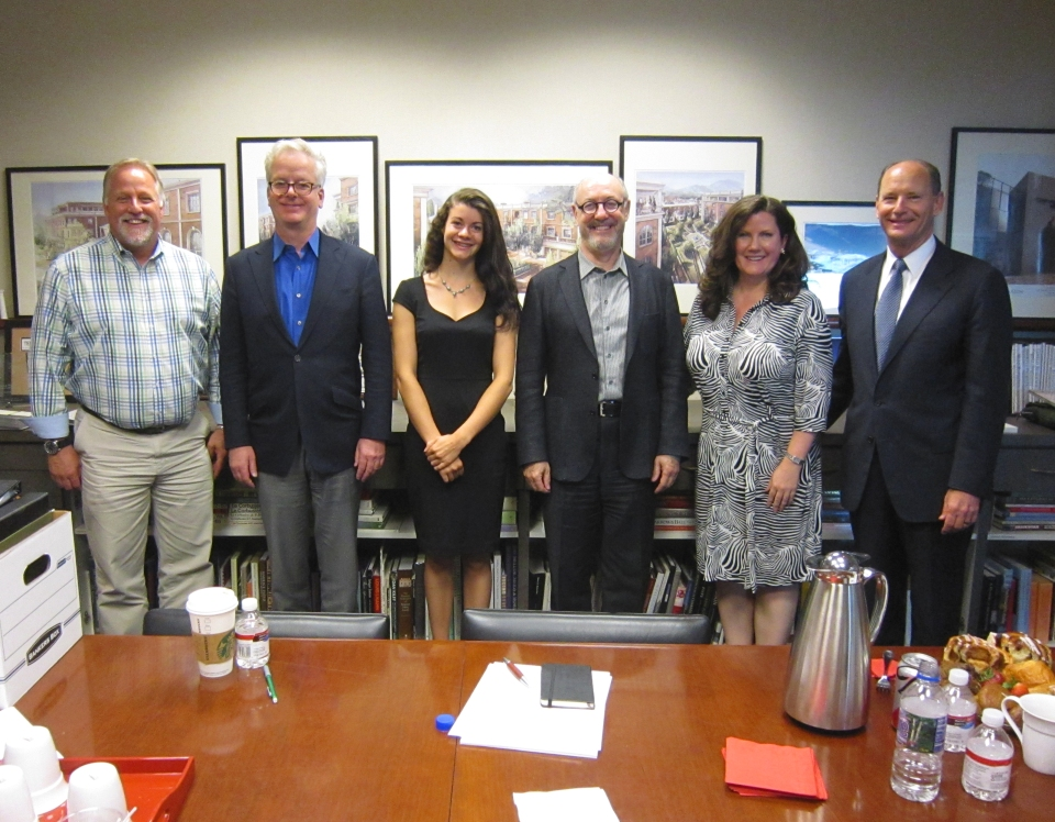 Figure 5 – From left to right, jury facilitator and ICAA RMC trustee Bill Miller, juror and ICAA Chairman Peter Pennoyer, jury observer and intern Dakota Walters, juror and College of Architecture and Planning Dean Mark Gelernter, juror and designer Christine G. H. Franck, and architect and ICAA RMC President Don Ruggles after the jury at DHR Architecture.